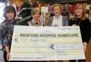Presentatio of a cheque of four thousand euro to Wexford Hospice Homecare proceeds of a coffee morning in Boggans Shop. Diane Cullen (Wexford Hospice Homecare), Joan Boggan (Boggans), Margaret McDonald (Wexford Hospice Homecare) and Linda Carley (Boggans)