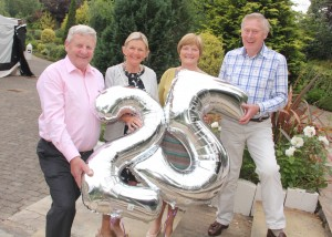 Celebrating 25 years of the Hospice BBQ are some of the original committee members, Paddy Kavanagh, Margaret O'Doherty, Frances Hutton, Michael O'Doherty, (missing from pic, Betty Shorthall and Declan McPartlin). Pic: Christy Farrell